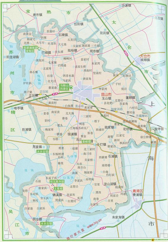 昆山地图区划交通地图
