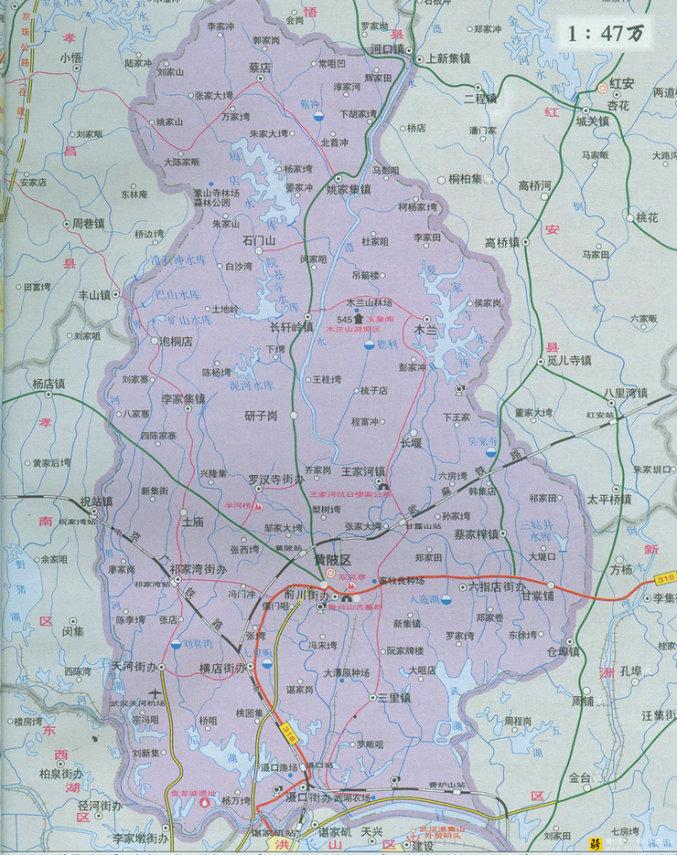 黄陂区地图