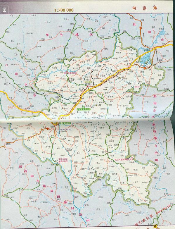 地图贵州主要旅游景点分布图|贵州旅游景点分