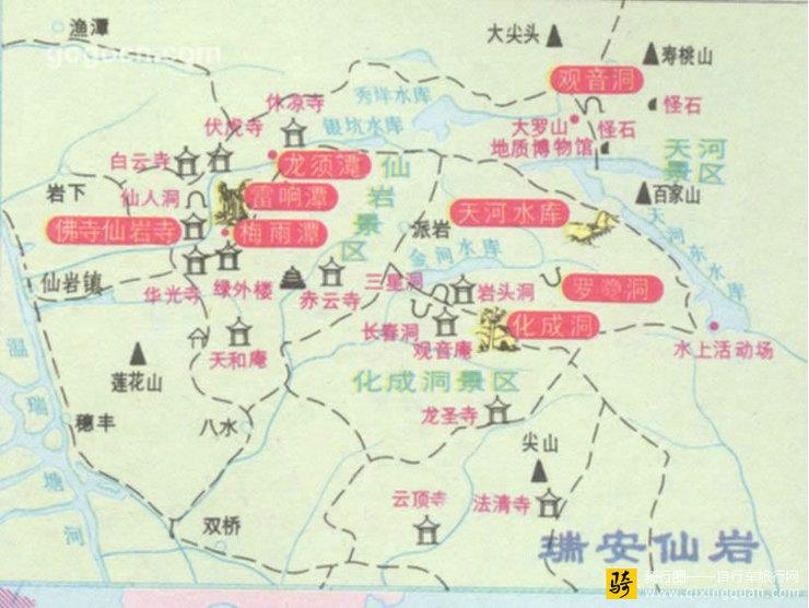瑞安仙岩地图_浙江_温州旅游地图