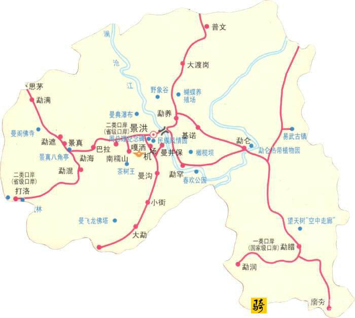 云南西双版纳旅游景点示意图_云南_西双版纳