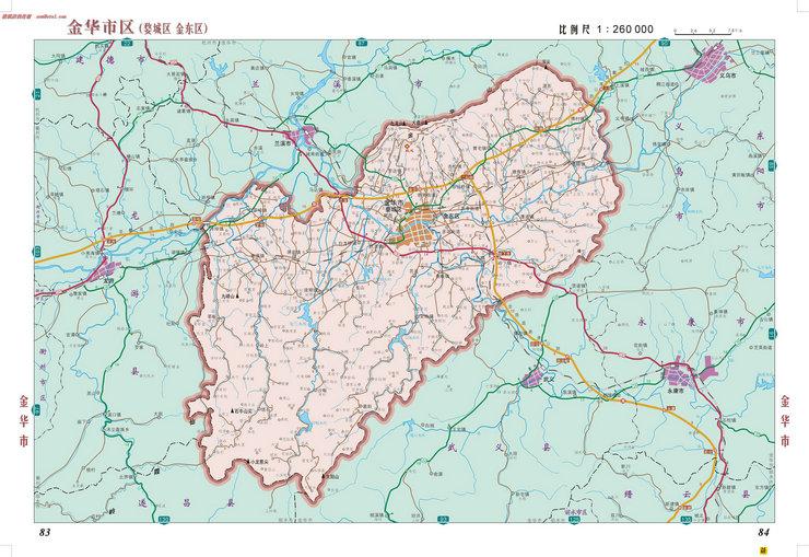浙江省金华市区地图