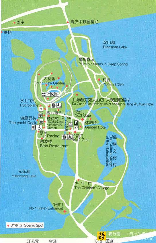 上海大观园旅游线路图_上海_上海旅游地图