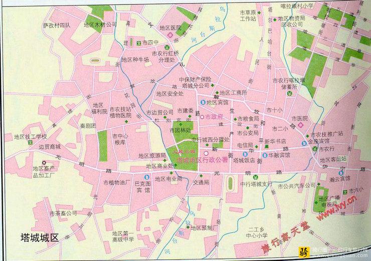 塔城市城区地图_新疆_伊犁哈萨克自治州旅游地图